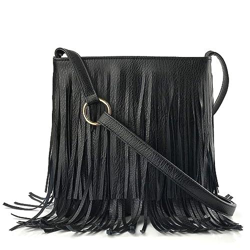 d39c44999e1d Glossy Fringe Cross Body Shoulder Bag Tassel Womens Purse