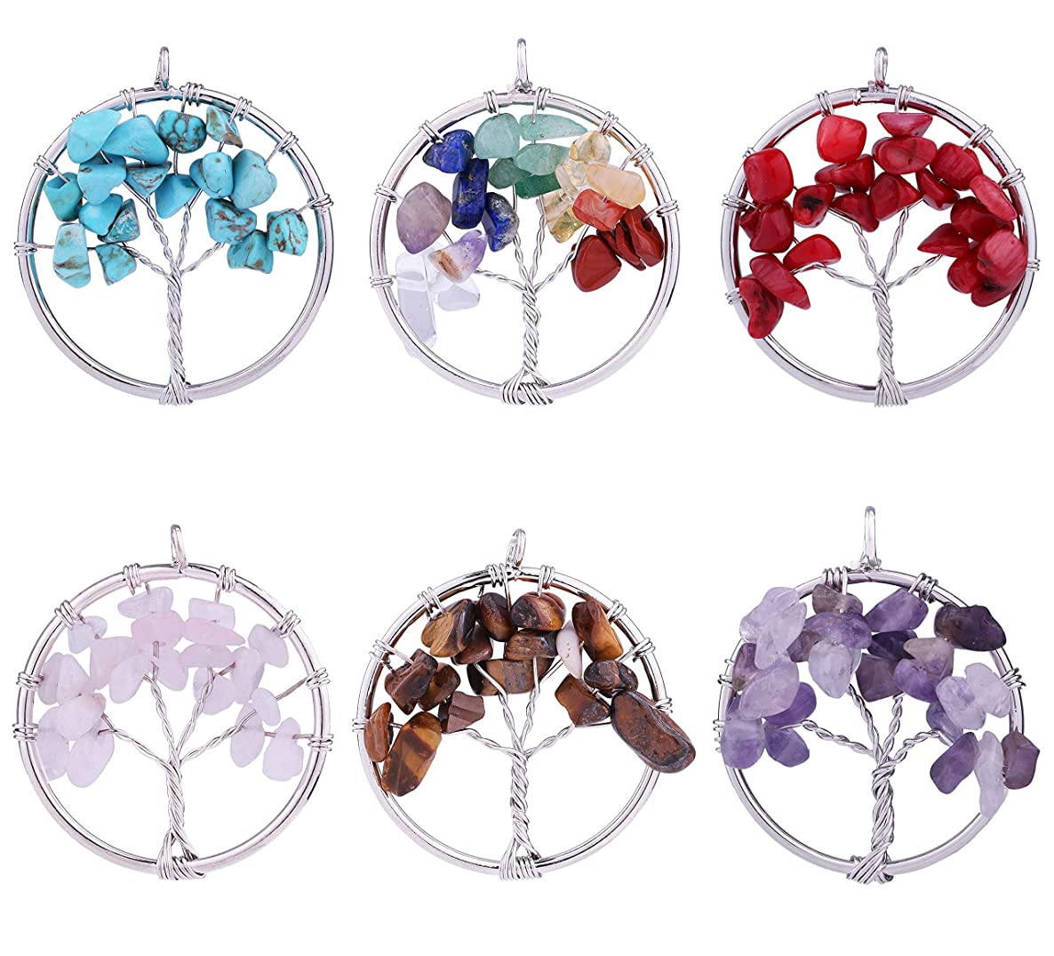 6pcs Natural Stone Crystal Gemstone Tree of Life Pendant Charms for DIY Nekclace Earrings Jewelry Making