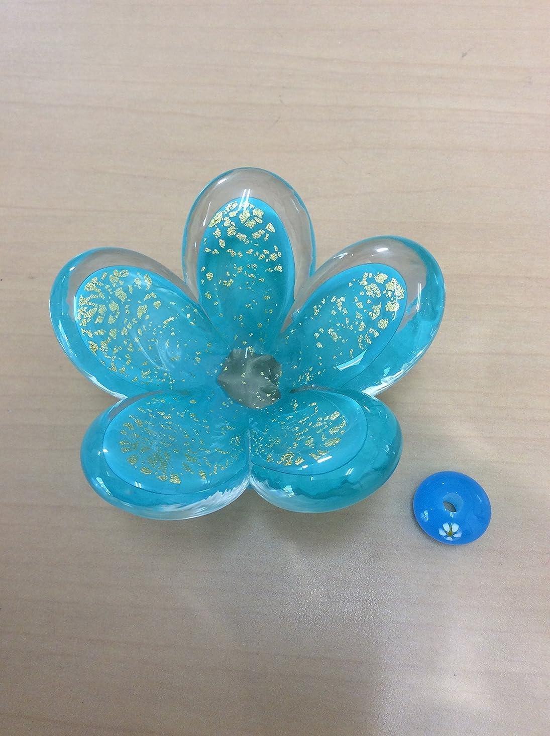 不当残る有効ガラスのお香立てセット 華香台(ブルー) 【HK-17】