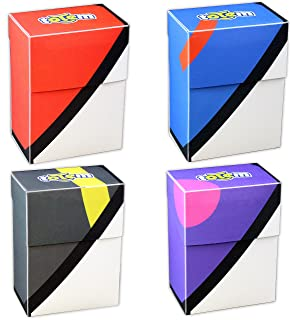 4 Poke Ball Inspired Deck Boxes for Pokemon Cards - Limited Edition Designs - Protect Your Deck In Style - Self-Locking Lid Keeps Cards Secure - Holds up to 80 Cards Per Box - Durable and Lightweight