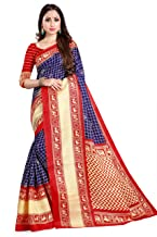 The Fashion Outlets Women's Silk Printed Ikkat Saree with Blouse (Dark Blue and Red)