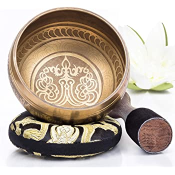 Tibetan Singing Bowl Set — Easy to Play with Cushion & New Dual-End striker for Holistic Healing, Calming & Mindfulness ~ Bronze Mantra Design
