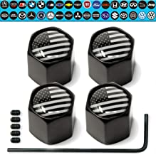 Custom Tire Valve Stem Caps (4Pack Set) Anti-Theft Hexagon Design   Car, Truck, SUV, and Vehicle   Leakproof, Airtight, Dustproof Seal   All-Weather, Lock Tight Fit (USA Flag)