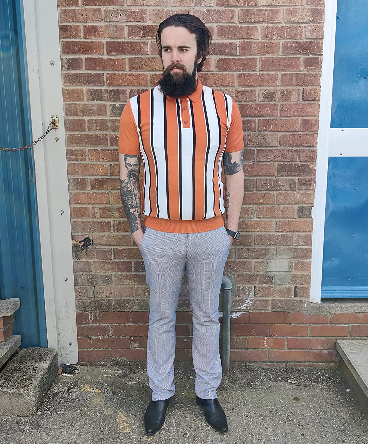 1960s Mens Shirts | 60s Mod Shirts, Hippie Shirts Relco Mens Knitted Striped Polo Shirts £39.95 AT vintagedancer.com