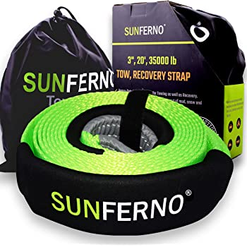"Sunferno Recovery Tow Strap 35000lb - Recover Your Vehicle Stuck in Mud/Snow - Heavy Duty 3"" x 20' Winch Snatch Strap - Protective Loops, Water-Resistant - Off Road Truck Accessory - Bonus Storage Bag"