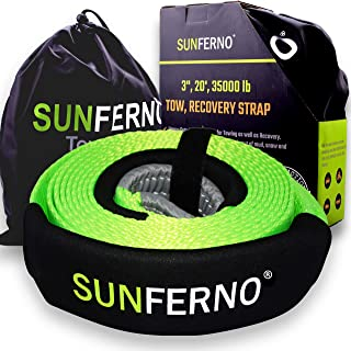 Sunferno Recovery Tow Strap 35000lb – Recover Your Vehicle Stuck in Mud/Snow..