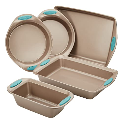Rachael Ray 46179 Cucina Nonstick Bakeware Set with Grips includes Nonstick Bread Pan, Baking Pan, Cookie Sheet and Cake Pans - 5 Piece, Latte Brown with Agave Blue Handle Grips