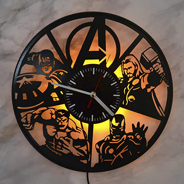Avengers Marvel Comics Night Light Wall Lights Vinyl Record Wall Clock Perfect Idea For Living Room Decor House Design Red Wall Clock Room Wall Lights Gift For Men Best Friend Gifts Birthday Gift