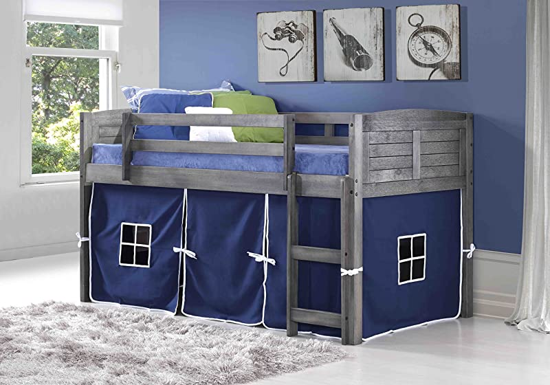 Donco Kids 790AAG 750C TB Louver Loft Bed Twin Antique Grey