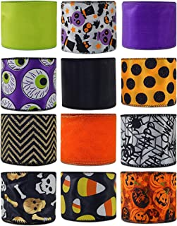 Economy Halloween Wired Fabric Ribbon Variety Pack Bundle 12-Roll Set 2.5 Inches by 3 Yards Orange Black Purple Orange Pumpkin Candy Corn Spiders Skeleton Jack-o'-Lantern (Set F Halloween)
