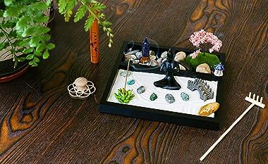 Desktop Meditation Yoga Zen Garden Kit Japanese Tabletop Rock Sand Chakra Shrine Altar Japanese Zen Decor Home Office Desk Ze