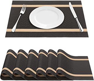 FYY Placemats, Placemats for Dining Table, Anti-Skid Heat-Resistant Washable PVC Table Mats Durable Stain Resistant Woven ...