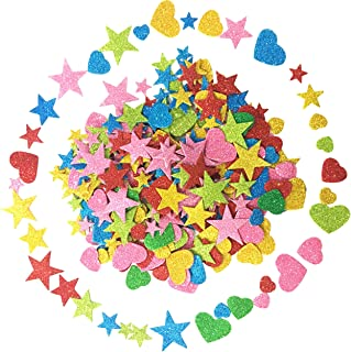 Foam Glitter Stickers Self Adhesive, Mini Heart and Stars Shapes for Kid's Arts Craft Supplies Greeting Cards Home Decoration (350 Pieces)