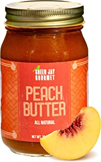 Green Jay Gourmet Peach Butter - All-Natural, Gluten-Free Fruit Spread - Peach Spread with Peaches & Spices - Gourmet Fruit Butter - No Corn Syrup, Preservatives or Trans-Fats - 19 Ounces