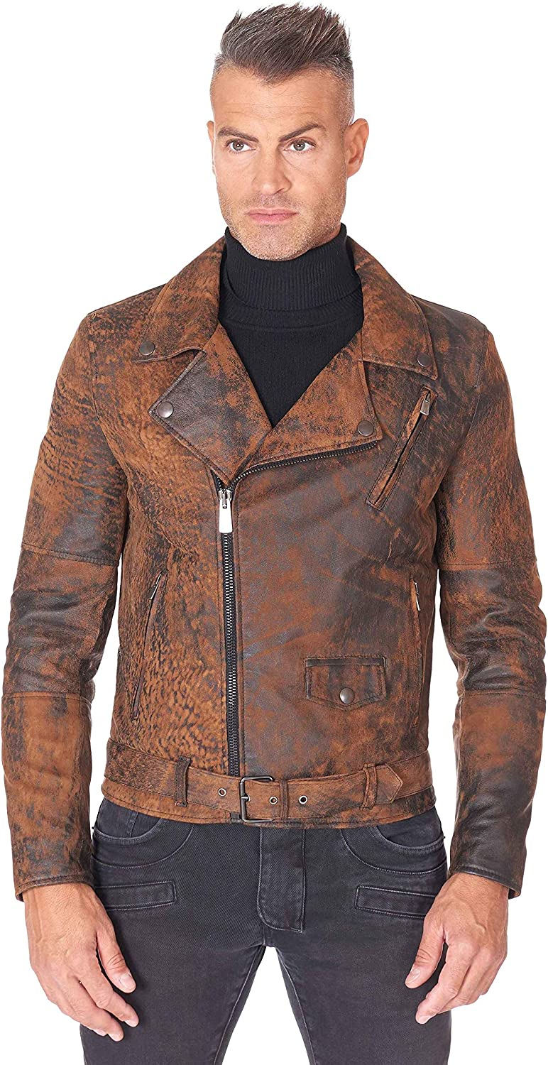 Brown belted nubuck lamb leather perfecto jacket