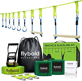 Ninja Obstacle Course Line Kit 40' Slackline 8 Hanging Obstacles with Adjustable Buckles Tree Protectors Instruction Booklet Carry Bag Capacity 300lbs Outdoor Backyard Fun for Kids Adults Family