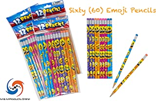 M & M Products Online Emoji Pencil Set: 60-Pack of Pencils Featuring Assorted Colors & Eraser Tops - 7.5 Inches for Long Lasting Writing - Great for Classrooms, School Supplies, and Party Favors