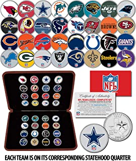 NFL TEAM LOGOS COMPLETE Colorized 32-Coin Set Statehood Quarters w/Display Box