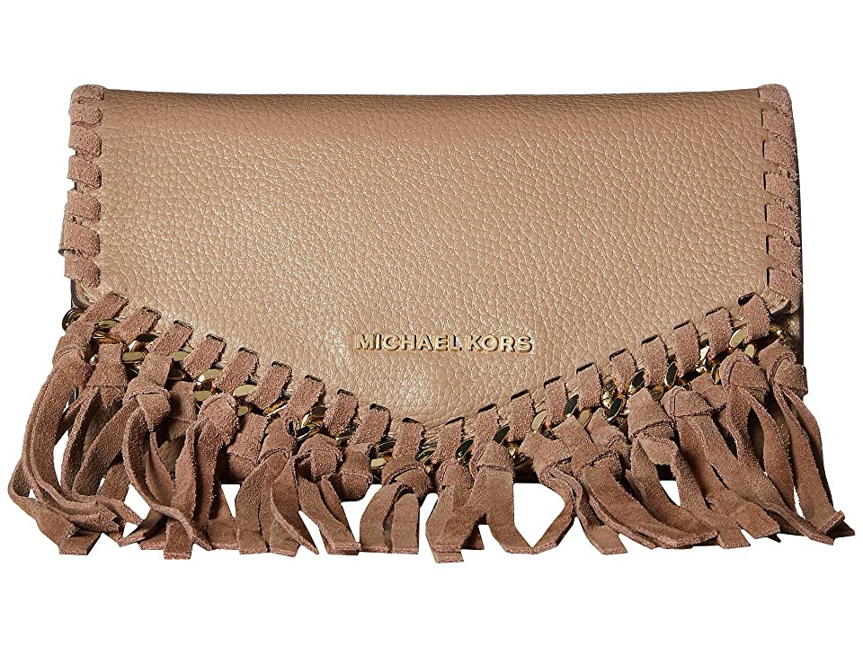 MICHAEL Michael Kors 16 mm (0.6) Fringe Belt Bag (Truffle/Gold Suede/Pebble) Women