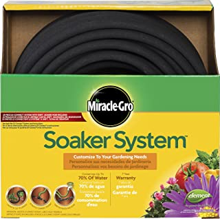 """Swan Products MGSPAK38100CC Miracle-GRO Soaker System Customizable Hose with Push on Fittings, 100' x 3/8"""", Black"""