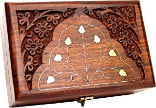 Jk Handicrafts Handmade Wooden Jewellery Box for Women Wood Jewel Organizer Hand Carved with Intricate Carvings Gift Items...