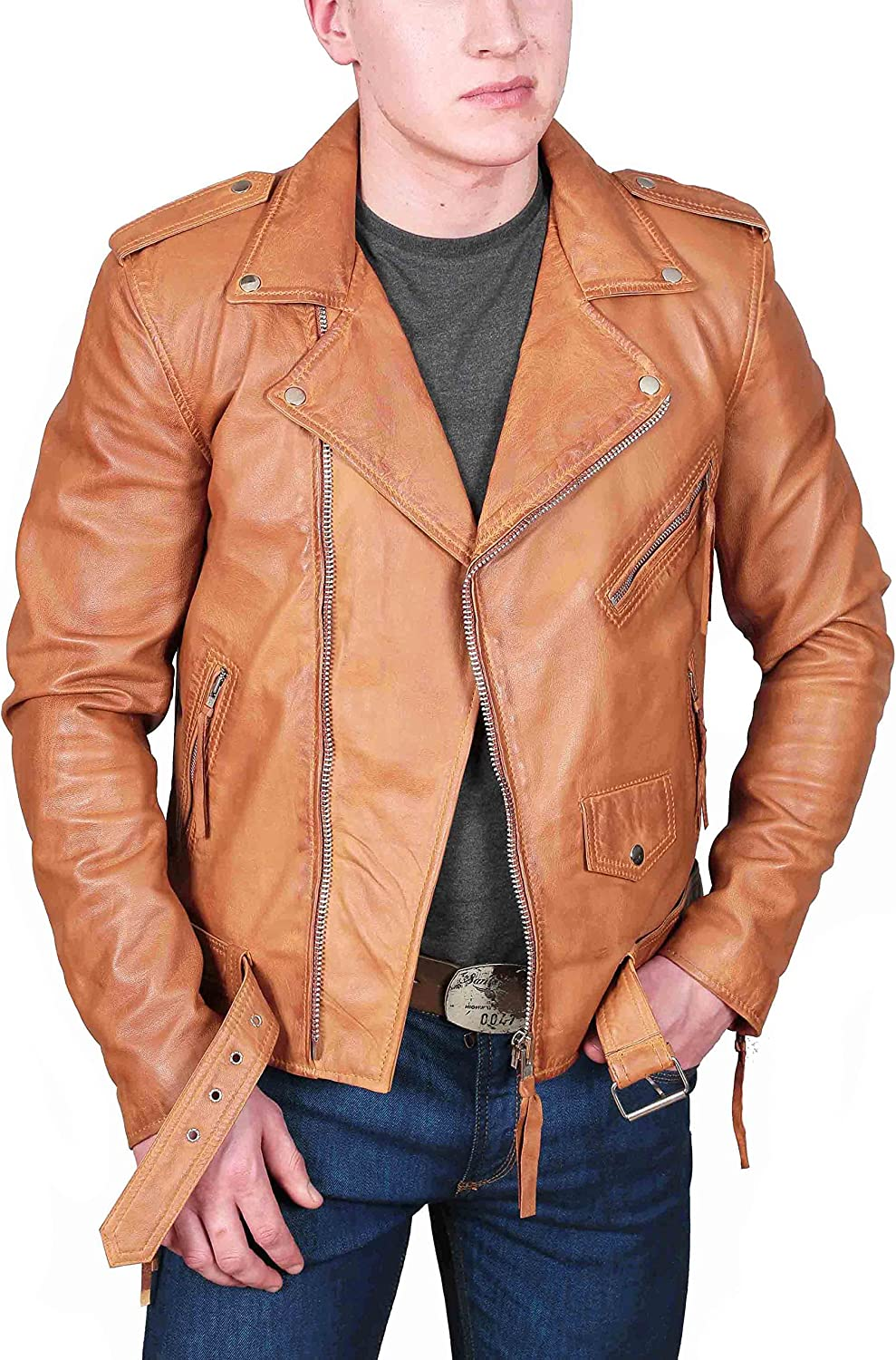 Mens Tan Leather Biker Jacket Fitted Free Shipping New color Cheap Bargain Gift Styl Brando With Retro Belt