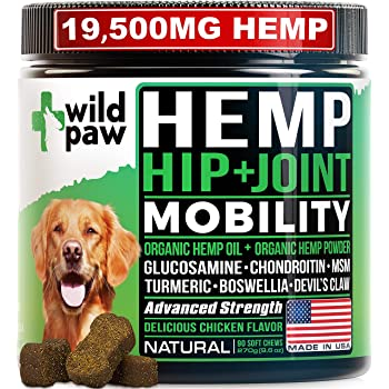 WILDPAW Organic Hemp Treats with Glucosamine for Dogs - Hip & Joint Support Supplement with Turmeric, Chondroitin, MSM, Hemp Oil + Powder - Soft Dog Chews for Pain Relief & Improved Mobility - Natural
