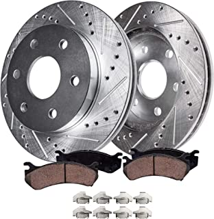 Detroit Axle - S-55097BK Front Brake Kit Kit | Drilled Slotted Bake Rotors with Ceramic Brake Kit Pads and Brake Kit Hardware Clips