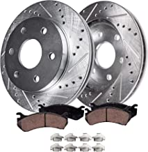Detroit Axle - S-55097BK Front Brake Kit | Drilled Slotted Bake Rotors with Ceramic Brake Pads and Brake Hardware Clips