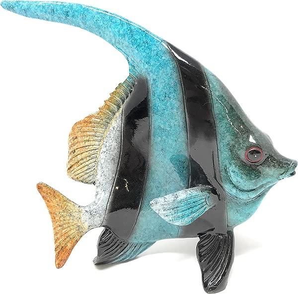 绿色树树脂蓝色和黑色热带天使鱼室内户外 D Cor 5 英寸长