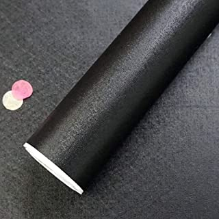 Black Wallpaper Stick and Peel 16.4'x1.47' Textured Self Adhesive Wallpaper Removable Wallpaper Black Solid Color Wall Paper Decorative Vinyl Black Peel and Stick Wallpaper Roll