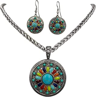 Multi Color Simple Pendant Silver Tone Imitation Turquoise Boutique Style Statement Necklace & Dangle Earring Set
