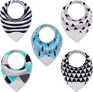 Baby & Toddler Bandana Teething Bib with BPA-Free Silicone Teether and Adjustable Snap for Boys and Girls, (5-Pack)
