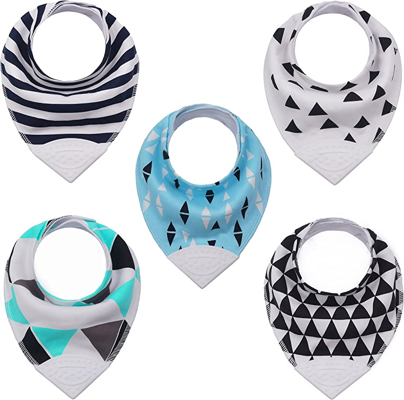 Baby Toddler Bandana Teething Bib With BPA Free Silicone Teether And Adjustable Snap For Boys And Girls 5 Pack