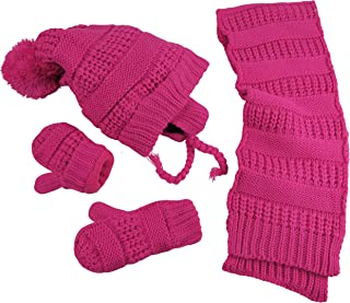 N'Ice Caps Big Girls Fleece Lined Cable Knit Hat/Scarf/Glove Accessory Set