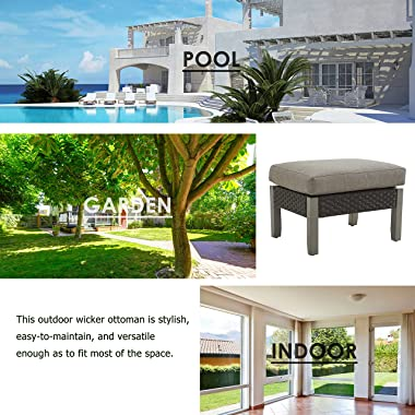 LOKATSE HOME Outdoor Wicker Ottoman Patio Rattan Furniture Metal Footrest Seat Square Footstool with Cushion, Grey