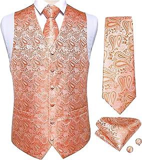 DiBanGu Vest for Men, 5 PCS Wedding Paisley Vest Tie Bow Tie Pocket Square Cufflinks S-3XL