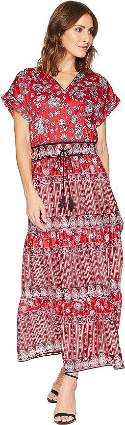 Silky Cotton Sateen Short Sleeve V-Neck Dress