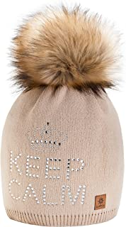 4sold® Keep Calm Girls Winter Warm Hat Wool Knitted Beanie Fleece with Large Faux Fur Pon Pom Cap Baggy Crochet Ski Snowboard Hats Bobble One Size