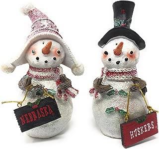 Set 2 Licensed University of Nebraska Cornhuskers Snowman Standing Decorations