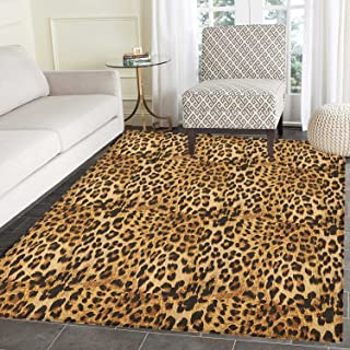 Brown Rugs for Bedroom Leopard Print Animal Skin Digital Printed Wild African Safari Themed Spotted Pattern Art Circle Rugs for Living Room 2'x3' Brown