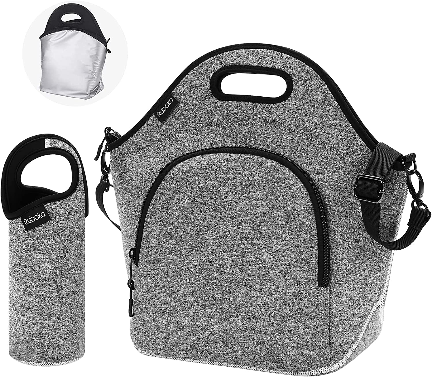 """Neoprene Lunch Bag, Ruboka Lunch Tote Insulated Lunch Bag, Large Lunch Tote Bags Reusable Lunch Box With Adjustable Detachable Shoulder Straps For Outdoor/School/Picnic/Work 13.5""""x 13.5""""x 6.5"""",Grey"""