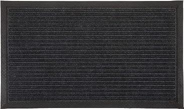 Charcoal Striped Polypropylene Doormat, Thin Welcome Entry Mat Ellora (45x75cm)