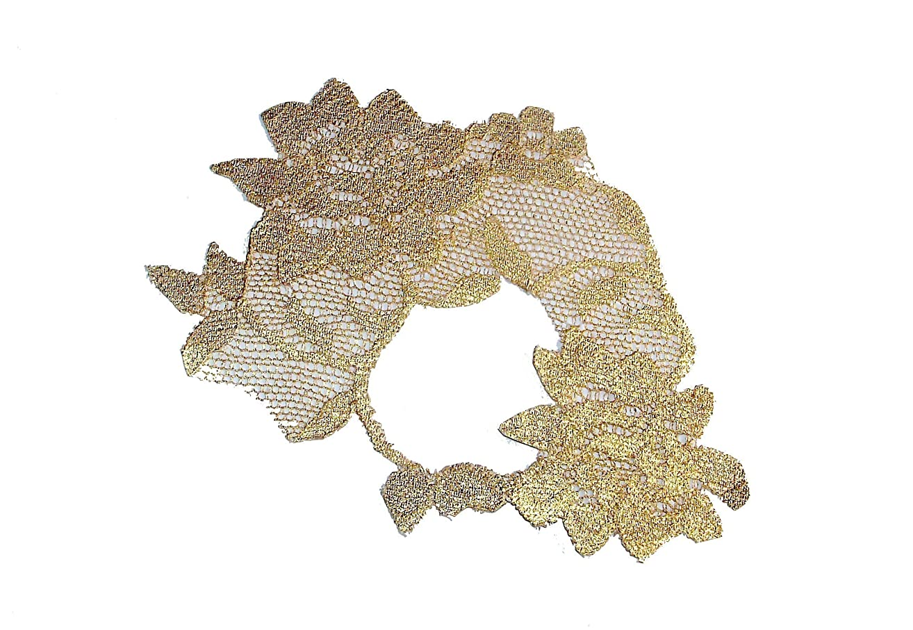 Adhesive Metallic Gold Leaf Lace Masquerade Mask (adheres to skin & reusable!) by LacedAndWaisted (comes with liquid adhesive) no stick or strap needed! (strapless)
