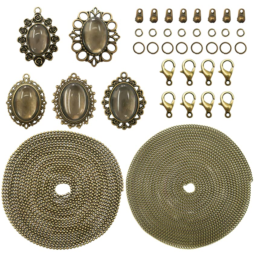 TOAOB 10Sets Antique Bronze Pendant Trays Multi Sizes Oval Style With Glass Cabochons Chains And Clasps for DIY