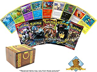 5 Pokemon Booster Pack Lot - Bonus 100 Random TCG Pokemon Cards 150 Cards in Total! Includes Golden Groundhog Treasure Chest Storage Box!
