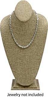 Novel Box® Burlap Necklace Jewelry Display Bust Stand X-Large (15.5X8X5