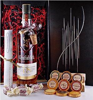 Geschenk Glenfiddich 18 Jahre Single Malt Whisky  Glaskugelportionierer  Edelschokolade  Fudge