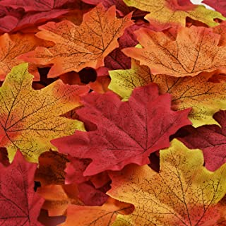 350PCS 7 Colors Artificial Maple Leaves Fall Leave Mixed Autumn Colored Leaves for Thanksgiving Day Autumn Leaf Party Table Decor