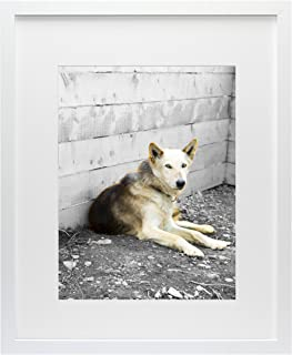 Golden State Art, Simple and Stylish Picture Frame with Ivory Color Mat & Real Glass (16x20, White)